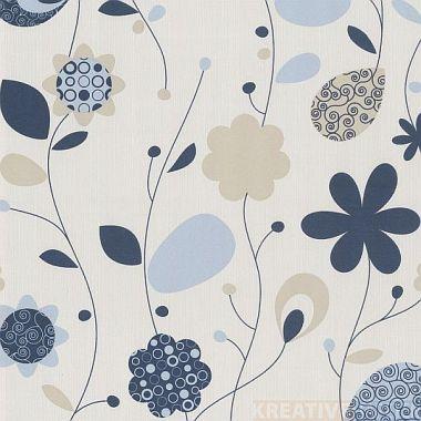 Vliestapete Blumen (1,81€/m²) Streifen Uni Tapete florales ...