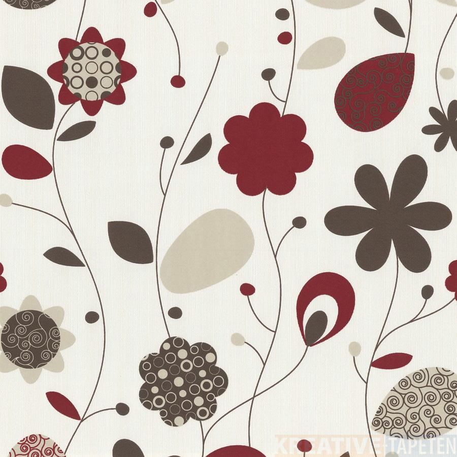 vliestapete blumen 1 69 m rot wei beige tapete. Black Bedroom Furniture Sets. Home Design Ideas